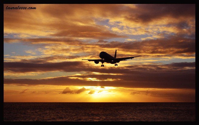 Sunset on Maho Beach - Photograph by Laura Lecce